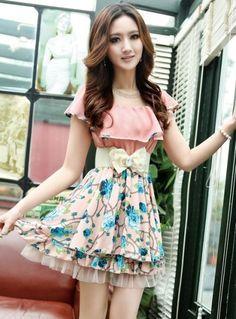 Romantic Fashion Ladies Flower Splice Dresses D4343 Beige - Wholesale Dresses - ☆Spring and Summer Clothes