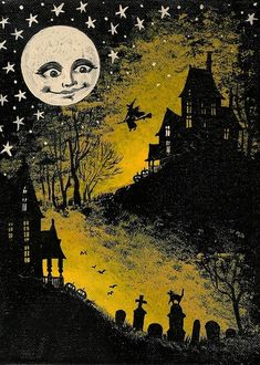 ACEO In The Halloween Moonlight Ryta print of original painting witch Black Cat Haunted House full moon spooky whimsical direct from artist