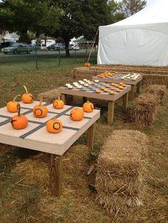 Pumpkin checkers and tic-tax-toe