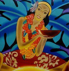 Frank McIntosh Hawaiian Print The Luau Matson Cruise Lines