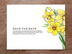 Printable save the date card from e.m.papers (with a @Stephanie Levy illustration). Download the PDF file, enter your text, print and cut. #weddingprintables #savethedate #printablesavethedate