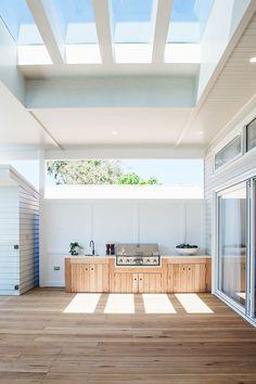 Kyal and Kara's Central Coast Australia home renovation – getinmyhome - Outdoor Diy Outdoor Bbq Kitchen, Outdoor Kitchen Design, Outdoor Barbeque Area, Small Outdoor Kitchens, Open Kitchens, Custom Kitchens, Parrilla Exterior, Coastal Homes, Coastal Cottage