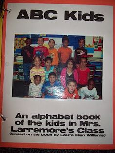 ABC Kids book. Children hold items that begin with each letter