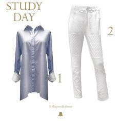 """¡Hoy en #MujeresBellmur saludamos a todas las estudiantes y celebramos su vocación con un look ideal para ellas!  Look """"Study Day""""  1. Camisa Oversize Mil Rayas // SHBELL48 2. Pantalón Lino y Broderie // PTBELL55"""