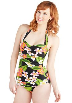 Bathing Beauty One Piece in Plumeria. It's ModCloth's ultimate swimsuit - now in an island floral print! #black #modcloth