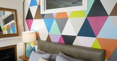 Cool geometric hand painted mural by Murals CGP
