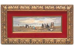 """This may be the same S. Gruber as our piece. Same general size & shape & style of frame. Remnants of frame label on back. S. Gruber (German, Early 20th Century) 4"""" x 12-1/8"""" panel Beach scene. Oil on wood panel, sign The Saleroom, Vintage Art Prints, Beach Scenes, Wood Paneling, This Is Us, Art Pieces, German, Label, Auction"""