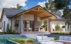 BW-39 wariant 5 jest projektem domu jednorodzinnego, bez garażu, bez podpiwniczenia, lubianym & sprawdzonym, parterowego, w stylu nowoczesnym, w stylu tradycyjnym, w technologii murowanej, z dachem dwuspadowym, z łazienką na parterze, z łazienką przy gabinecie, z ustawnym salonem, ze spiżarnią przy kuchni Rustic House Plans, Small House Plans, Carport Patio, Minimal House Design, House Construction Plan, Sims House Plans, Hillside House, Weekend House, Roof Styles
