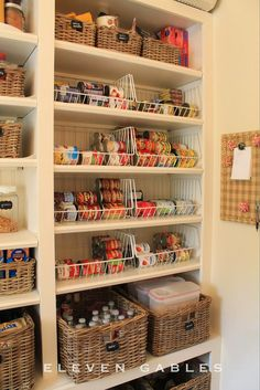 shallow pantry shelves with wire baskets for multiples of the same item