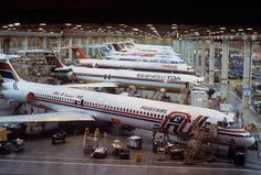 The McDonnell Douglas MD-80 assembly line.