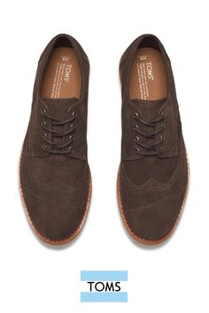 f7463375ca Chocolate Brown Suede Men's Brogues from TOMS give the traditional Oxford a  fresh twist. They