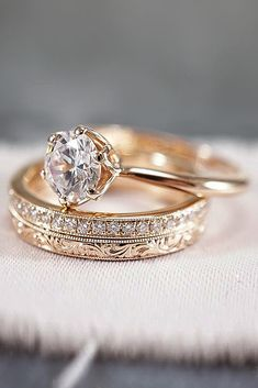 rose gold wedding rings round cut solitaire simple