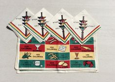 Vintage Placemats & Napkins Set of 4 Calorie by unclebunkstrunk ***ALSO SEE Vintage Jewelry at: http://MyClassicJewelry.com/shop