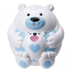 A cute polar bear floating tub toy that squirts water.