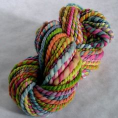 Hand Spun Merino Wool...this is one type of yarn I love to spin...chunky and uneven for the most part.