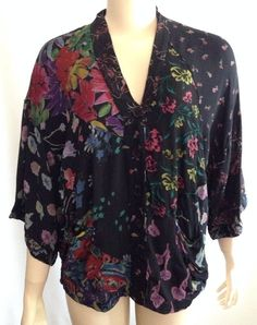 Sacred Threads Top Shirt S Womens Rayon Hippie Patchwork Boho Black Floral #SacredThreads #Blouse #Casual