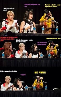 The girls, cosplaying as themselves, playing with dolls of themselves, acting out fan fiction. Because RWBY, that's why!