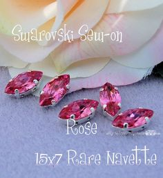 Rare Rose Navette 4231 Sew On - Swarovski Crystal 15 x 7mm in a SP 4-hole Prong Setting Wire Jewelry Supply
