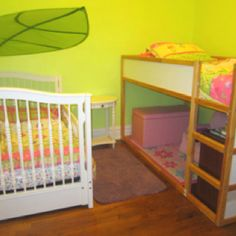 After a couple of long days, our toddler/preschooler bedroom merger is complete and we couldn't be happier!  Walls - Behr Honeydew.  Bedding - Target Circo Happy Flower.  Loft bed - IKEA Kura.  Toddler bed - converted Stanley Young America Ma Marie crib.