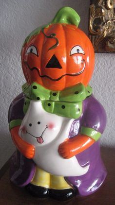 NIB Pumpkin Halloween Kitchen Cookie Jar Canister Container Decoration Decor