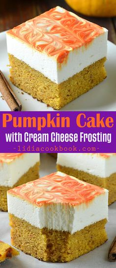 Easy homemade pumpkin cake is perfect fall dessert for Thanksgiving, Halloween and more! This Pumpkin Cake is a delicious cross between a quick bread and delicate cake loaded with pumpkin and topped with a creamy cream cheese frosting!