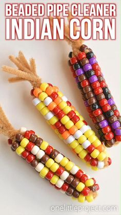 This beaded pipe cleaner Indian corn craft is SO FUN and it's so simple to make! Such an easy kids craft that makes a super cute Fall decoration! Thanksgiving Crafts For Kids, Thanksgiving Activities, Holiday Crafts, Thanksgiving Food, Pipe Cleaner Crafts, Food Crafts, Kids Crafts, Toddler Crafts, Craft Stick Crafts