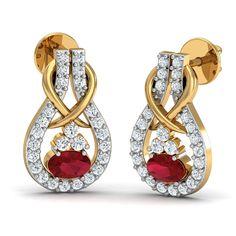 da798fb1180 Gold Earrings 0.26 Ct Real Certified Diamond Ruby Weekend