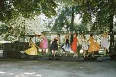 Mark Shaw, Models on Train, Bois de Boulogne, Paris (1957) | Artsy