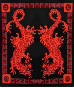 Oriental Twin Dragon Tapestry