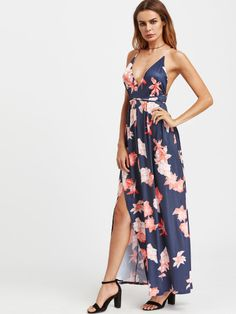 Plunging Backless Tie Detail Overlap Dress