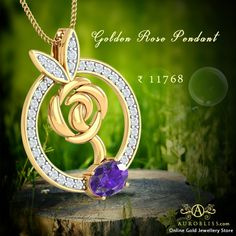 The Pendant was designed in Ring Shape and worked by an Exotic Golden Rose in middle of the pendant. The pendant was attracted by the small blue gem stone in low. Ring Shapes, Gold Flowers, Solid Gold, 18k Gold, Gold Jewelry, Exotic, Things To Come, Rose Gold, Pendants
