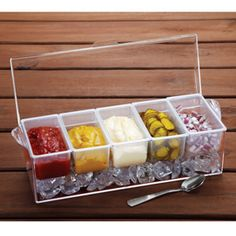 Chilled Condiment Server  Preserve fresh condiment flavors longer and safely on ice.