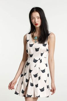 Feline Karma dress - A dress that matches my name! I love wearing this with a bright skinny belt and pretty lipstick. #anthrofave