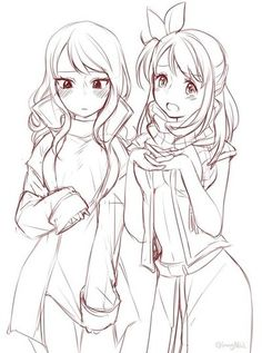 Tumblr-- Juvia and Lucy in Gray and Natsu's clothes - so cute! Probably would be better colored in