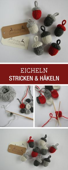 DIY-Anleitung: Süße  Eicheln für Deine Herbstdeko stricken und häkeln / DIY tutorial: knitting and crocheting sute acorns as fall decor via DaWanda.com