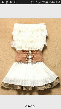 Do full lace petticoat instead of just sewing onto a liner. See if you can get pre pleated fabric or just use a white pleated skirt from a store. The belt looks easy, if anything can be substituted for brown buckles belt or pink bow belt