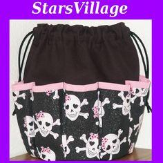 Skulls Pink Bows Glitters (Pink Trim) on Black Canvas Bingo Bag Tote 10  Dauber Pockets.  19.99, via Etsy. 26d27e0893