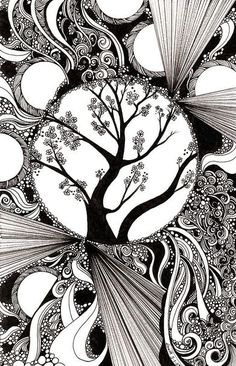 zentangle inspired art (could use this idea to...