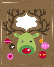 Rudolph with Christmas decorations vector art illustration