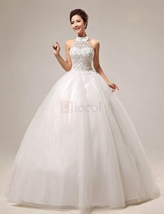 ❀ Sweet Hollow Out Halter Lace Wedding Dress | Riccol ❤