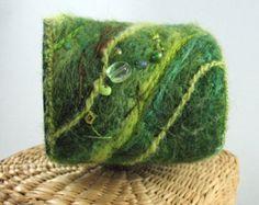 Felted Wrist Cuff, Rainforest Green