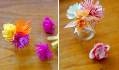 I would like to make these DIY tissue paper flowers found on Bliss! to put on my desk as well... or on my nightstand. Either way, they're #delightful