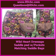 Wild hearts Dressage saddle pad with pockets and matching saddle bags