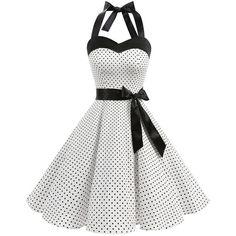 DRESSTELLS Vintage 1950s Rockabilly Polka Dots Audrey Dress Retro... ($9.99) ❤ liked on Polyvore featuring dresses, white dress, homecoming dresses, vintage homecoming dresses, vintage prom dresses and retro cocktail dresses