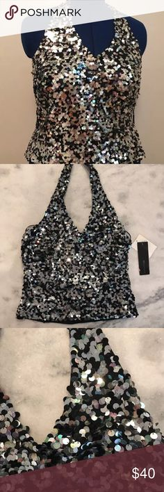 "SALE🍂Sequin Boutique Halter Top JS Boutique Sequin Halter Top.  Large sequins over a stretch knit lining. Black, silver, and clear sequins- bounces different colors off- such a great top!  Two eye hooks at top of neck, almost full side zipper, top has stretch to it  Wear it for night out or for a formal event  Lay flat Measurements From bottom of V Neckline to hem: 12"" Across at hemline: 16.5""  Very good condition. Some of the sequins are a little 'ruffled' but it is not too noticeable. JS…"