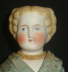 "Wonderful 17"" Antique Parian Head Doll-Flat Top Hairdo-Nicely Costumed 