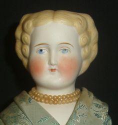 "Wonderful 17"" Antique Parian Head Doll-Flat Top Hairdo-Nicely Costumed | eBay"