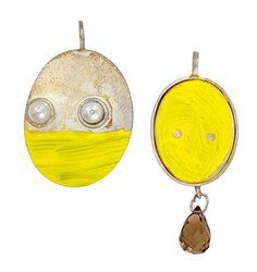 Susanne Blin Pendant: Untitled, 2013 925 silber, 750 gold, perlen, knochen, rauchquarz, farbe