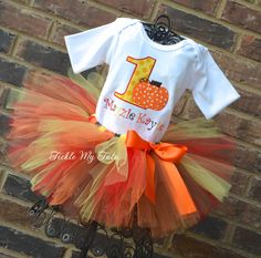 Little Pumpkin Birthday Tutu Outfit Fall Harvest by TickleMyTutu, $54.95