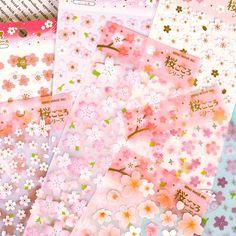 Romantique Sakura Papeterie Journal Autocollants Décoratifs Mobile Autocollants Scrapbooking DIY PVC Autocollants Escolar Papelaria